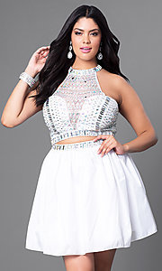 Two Piece White Plus Size Homecoming Dress
