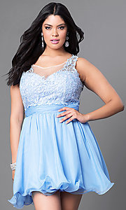 Image of white plus-size short party dress with lace bodice. Style: NA-6049Pw Detail Image 1