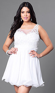 Image of white plus-size short party dress with lace bodice. Style: NA-6049Pw Front Image