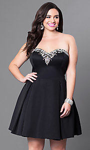 Image of fuchsia pink plus-size short dress for homecoming. Style: DQ-9492Pf Detail Image 1