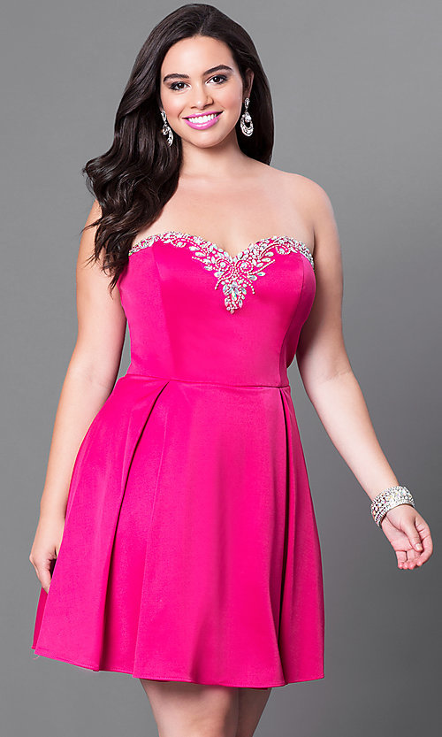 Image of fuchsia pink plus-size short dress for homecoming. Style: DQ-9492Pf Front Image
