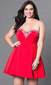Image of strapless sweetheart red satin plus homecoming dress. Style: DQ-9492Pr Front Image