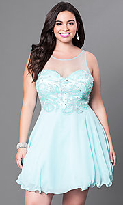 Aqua Blue Short Illusion Sweetheart Plus Homecoming Dress