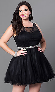 Image of short plus fit-and-flare homecoming dress. Style: DQ-9465Pb Front Image