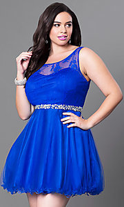 Image of short plus fit-and-flare homecoming dress. Style: DQ-9465Pb Detail Image 1