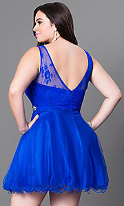 Image of short plus fit-and-flare homecoming dress. Style: DQ-9465Pb Back Image
