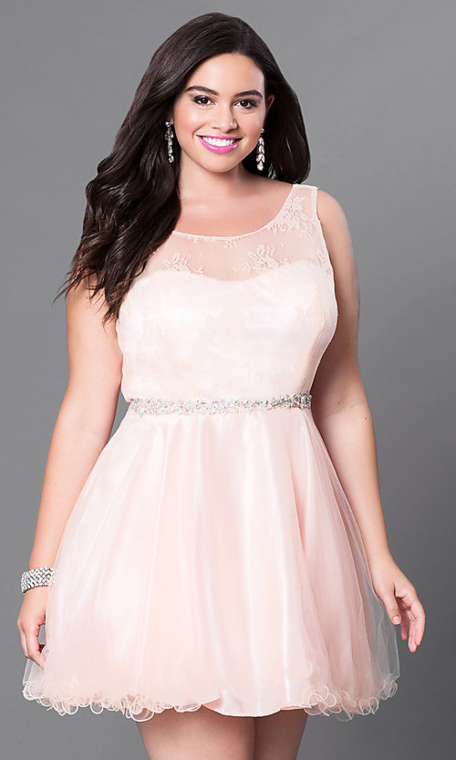 Image of short plus fit-and-flare homecoming dress. Style: DQ-9465Pb Detail Image 3