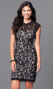 High-Neck Short Lace Dress