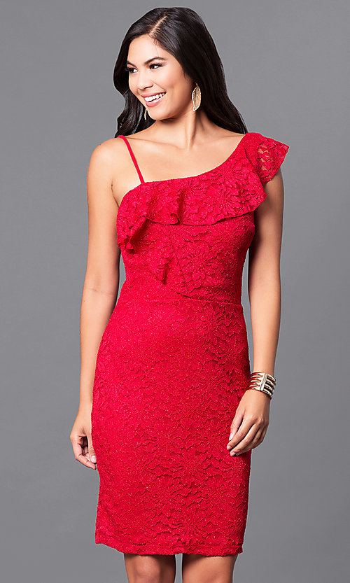 Short Red Lace Cheap Holiday Party Dress Promgirl