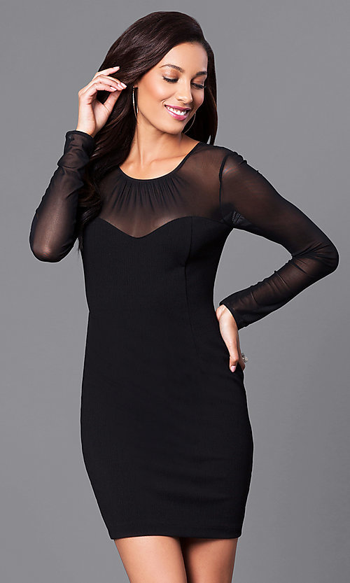 Image of short black holiday party dress with sheer sleeves. Style: BC-MCP64J29 Front Image