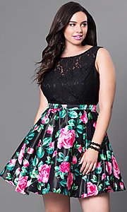 Image of short black floral-print plus-size homecoming dress. Style: DQ-9517Pm Front Image