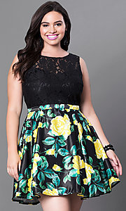 Image of short black floral-print plus-size homecoming dress. Style: DQ-9517Pm Detail Image 1