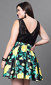 Image of short black floral-print plus-size homecoming dress. Style: DQ-9517Pm Back Image