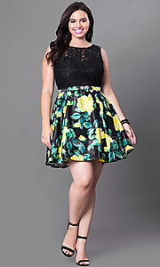 Image of short black floral-print plus-size homecoming dress. Style: DQ-9517Pm Detail Image 2
