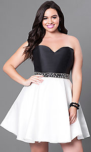 Short Two Tone Plus Size Homecoming Dress