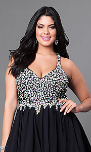 Image of short beaded plus-size burgundy red short prom dress. Style: DQ-8997Pb Detail Image 3