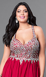 Image of short beaded plus-size burgundy red short prom dress. Style: DQ-8997Pb Detail Image 1