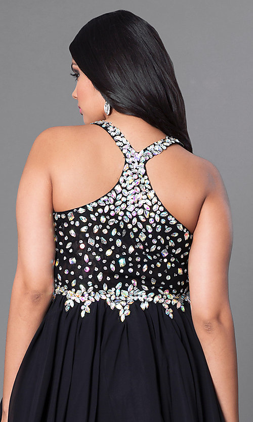 Image of short beaded plus-size burgundy red short prom dress. Style: DQ-8997Pb Detail Image 4
