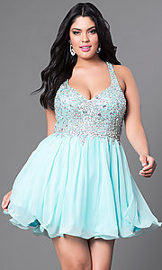 Image of short mint blue v-neck plus-size short prom dress. Style: DQ-8997Pm Front Image
