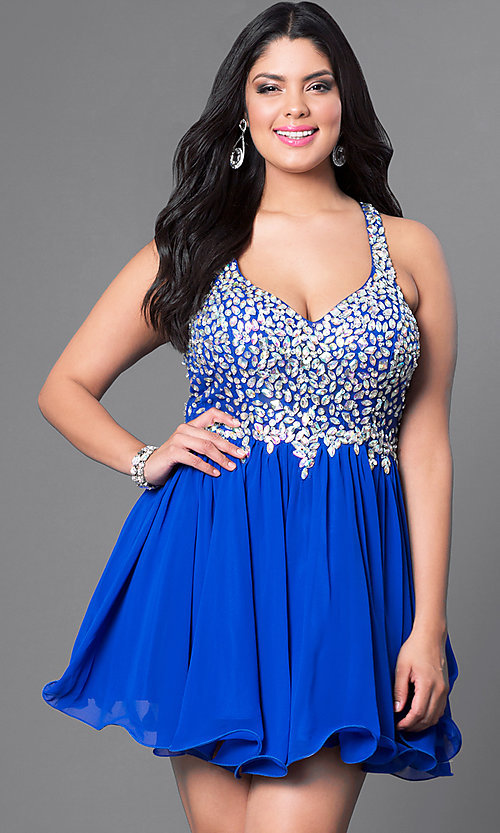 Image of beaded plus-size short prom dress in royal blue. Style: DQ-8997Pr Front Image