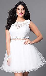 Image of white plus-size mock two-piece graduation dress. Style: DQ-9080Pw Front Image