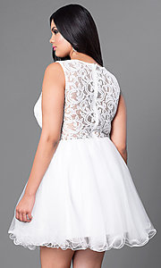 Image of white plus-size mock two-piece graduation dress. Style: DQ-9080Pw Back Image