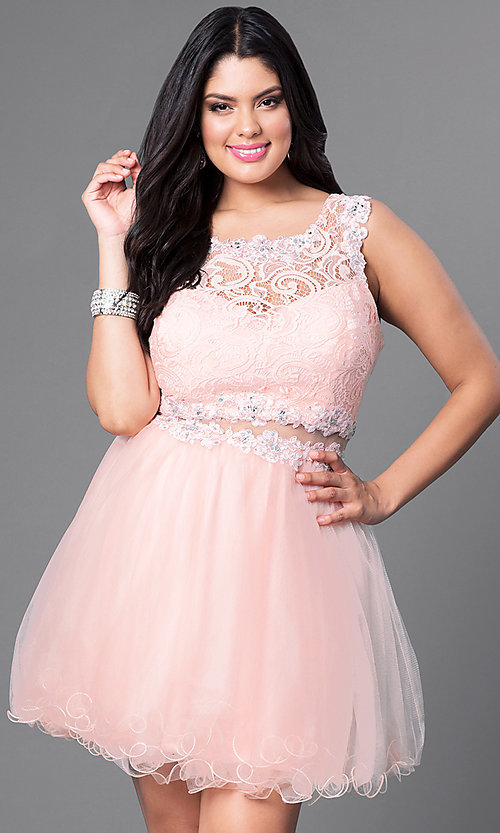 Image of white plus-size mock two-piece graduation dress. Style: DQ-9080Pw Detail Image 2