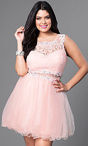 Image of short plus party dress in peach pink lace and tulle. Style: DQ-9080Pp Front Image