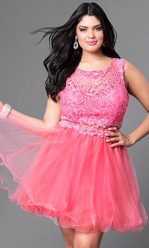 Image of coral pink mock two-piece party dress in plus size. Style: DQ-9080Pc Front Image