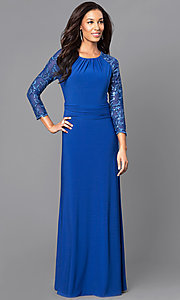 Long 3/4 Sleeve Ruched Waist Party Dress