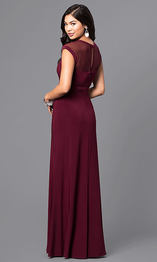 Image of merlot red long formal dress with cap sleeves. Style: MO-21441 Back Image