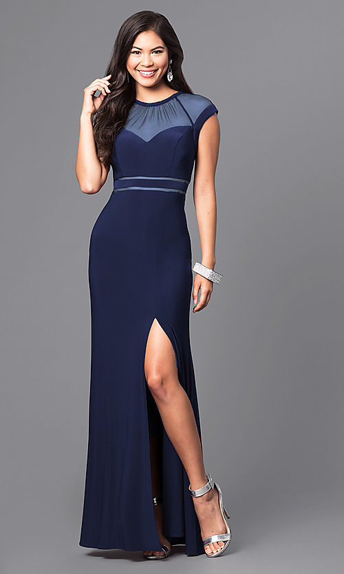 Image of sheer-neckline long formal dress with cap sleeves. Style: MO-21441 Detail Image 3
