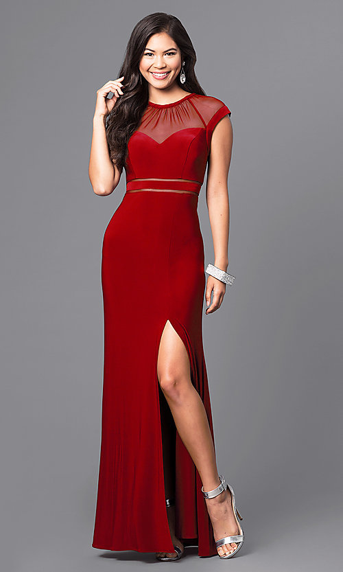Image of merlot red long formal dress with cap sleeves. Style: MO-21441 Front Image