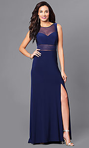 Image of twilight blue long jersey prom dress with sheer waist. Style: MO-21407 Front Image