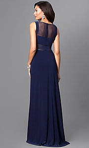 Image of twilight blue long jersey prom dress with sheer waist. Style: MO-21407 Back Image