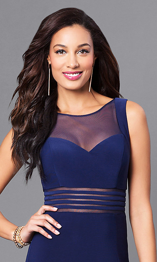 Image of twilight blue long jersey prom dress with sheer waist. Style: MO-21407 Detail Image 1