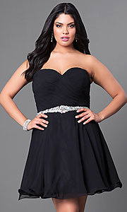 Image of black plus-size homecoming dress in ruched chiffon. Style: DQ-9115Pb Front Image