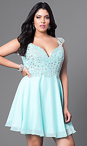 Cap-Sleeve Plus-Size Short Prom Dress in Mint Blue