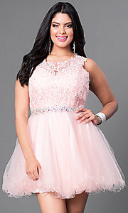 Image of blush pink plus-size fit-and-flare short prom dress. Style: DQ-9159Pp Front Image