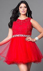 Image of blush pink plus-size fit-and-flare short prom dress. Style: DQ-9159Pp Detail Image 2