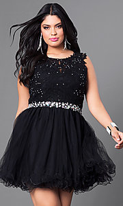 Image of red plus-size party dress with lace bodice. Style: DQ-9159Pr Detail Image 2