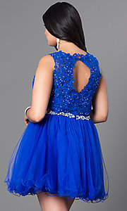 Image of red plus-size party dress with lace bodice. Style: DQ-9159Pr Back Image