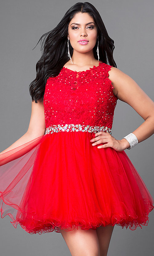 Image of red plus-size party dress with lace bodice. Style: DQ-9159Pr Front Image