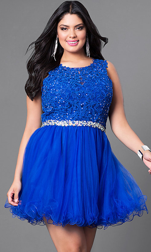 Image of red plus-size party dress with lace bodice. Style: DQ-9159Pr Detail Image 1