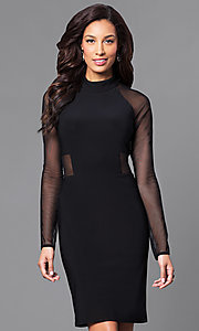 Black High-Neck Short Party Dress with Long Sleeves