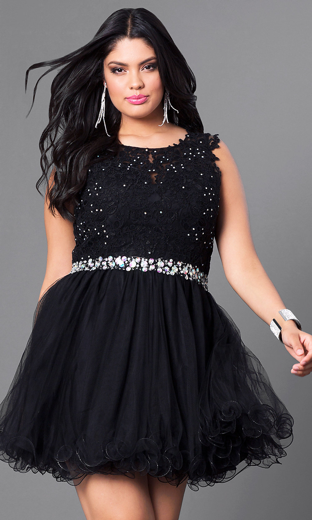 Short Plus-Size Black Party Dress with Lace-PromGirl