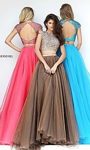 Long Sherri Hill A-Line Two Piece Prom Dress
