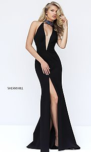 Black Low V-Neck Sherri Hill Prom Dress