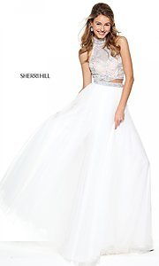 Two Piece A-Line Sherri Hill Prom Dress