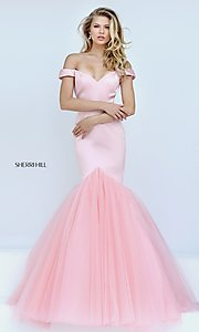 Off-the-Shoulder Long Sherri Hill Prom Dress